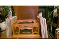 Retro stereo hi-fi system with 140 VINYL LPs! CD, turntable record player, tape