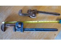 2 large adjustable pipe wrenches