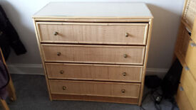 Solid wood 4 drawer glass top chest, Bamboo/woven effect, £35