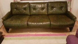 Mid Century 3 seat leather sofa