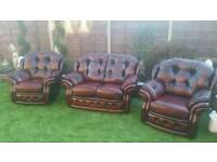 Chesterfield suite antique red