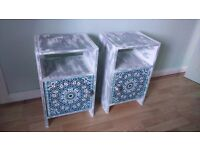 2 shabby chic Moroccan boho bedside tables