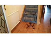 Black Metal and Glass Console/Hall Table
