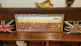 large ornate landscape picture, metal hammered frame