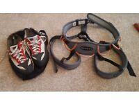 DMM Renegade Climbing harness, Red Chilli Corona climbing shoes for sale