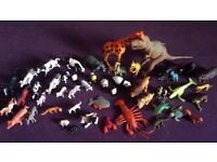 Bundle Animal Figures-Dinosaurs,cows,horses,dogs...50 items