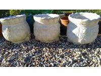 3 garden planters stone pots