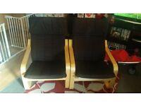 2x ikea poang chairs (black)