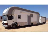 COMING SOON TO THE UK LARGE MERCEDES MOTORHOME 1KW SOLAR POWER 7 SEATER WITH CAR TRANSPORTER TRAILER