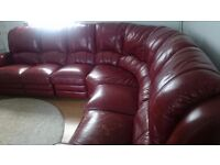 Leather corner sofa with manual recliners quick sale!