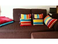Can deliver! Sofa bed in chocolate brown with footstool and underneath storage