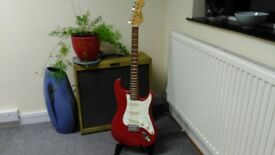Encore Stratocaster, Red, Made in India/Japan, Really nice neck!!!