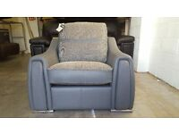 SCS SISI ITALIA VICTOR ARMCHAIR BRAND NEW WITH TAGS GREY LEATHER & FABRIC REVERSABLE CUSHIONS