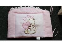 Cot/Toddler Bed Bumper & Quilt Set pink