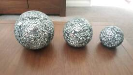 Silver Sparkle/ crackle decorative set - ceiling light, vase, lamp, hanging heart & 3 spheres