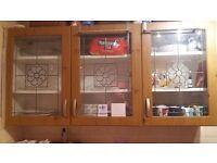 Oak effect kitchen cupboard doors