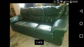 Green leather suite. 3 seater plus 2 seater good condition