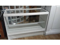 White wood and glass long display case