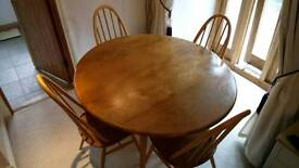 Blonde Ercol Windsor dropleaf dining kitchen table and 4 Ercol Quaker dining chairs
