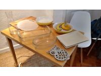 Assorted kitchen trays / cutting boards / salad and fruit bowls / jug