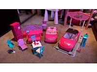 barbie cars, car wash and furniture