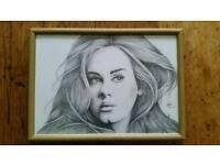 Original Adele pencil drawing framed print