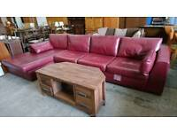 deep red marks and Spencer corner sofa. delivery available