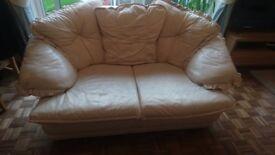 FREE Cream leather 2 seater sofa