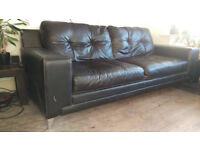 Large Black DFS Leather Sofa