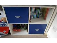 STOMPA BLUE AND WHITE STORAGE CUBE CUPBOARD