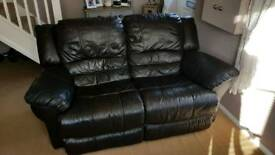 Brown leather 3 + 2 seater sofa