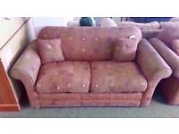 FAIR CONDITION! 2 seater sofa bed with red patterned fabric design