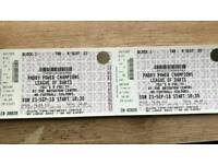 2x CHAMPIONS LEAGUE OF DARTS TICKETS- SUNDAY 23rd SEPTEMBER- FINAL- TOP SEATS