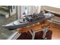 Model Rc boat hull and navy ship