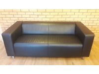 Faux Leather Black Settee
