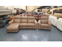 Ex-display Cressida dark beige leather electric recliner chaise sofa and electric armchair