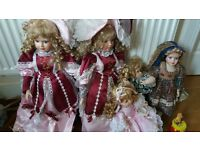 4 x Porcelyn Dolls lovely collects or ornamental for landing or girls room