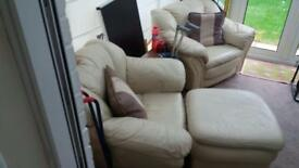 2 x armchairs and matching foot stool
