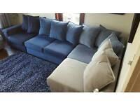 £500 - DFS FABRIC CORNER UNIT SOFA - DARK BLUE TO LIGHT GREY - £300