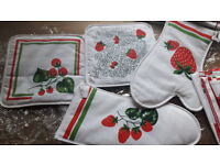 NEW 10 piece kitchen towels, apron, tablecloths, oven mitts/gloves