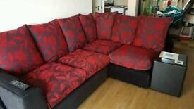 Red and black floral corner sofa