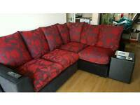Red and black floral corner sofa