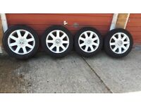 VOLKSWAGEN GOLF MK5 ALLOY WHEELS WITH TYRES. 205/55R16
