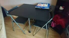 Dining table drop leaf 4 chairs black silver
