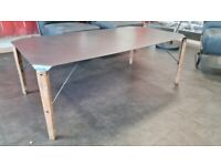 Black modern/contemporary abstract office/reception table/desk wooden and metal frame