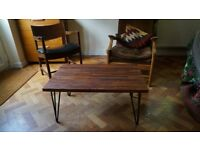 Solid Redwood Coffee Table with Industrial Steel Hairpin Legs. Delivery Available. (86x59x38)