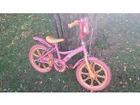 Kids' bike (Barbie-themed), approx age 3-7