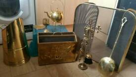 brass set fireguard and other items