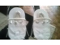 2 white baby rockers ideal for twins