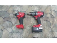 Milwaukee FUEL BRUSHLESS M18FPD Combi Drill,M18FID Impact Driver 1x4.0ah